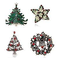 Ailer ラインストーン クリスタル クリスマスブローチ ピン ホリデー クリスマスギフト ブローチ ジュエリーセット 4個