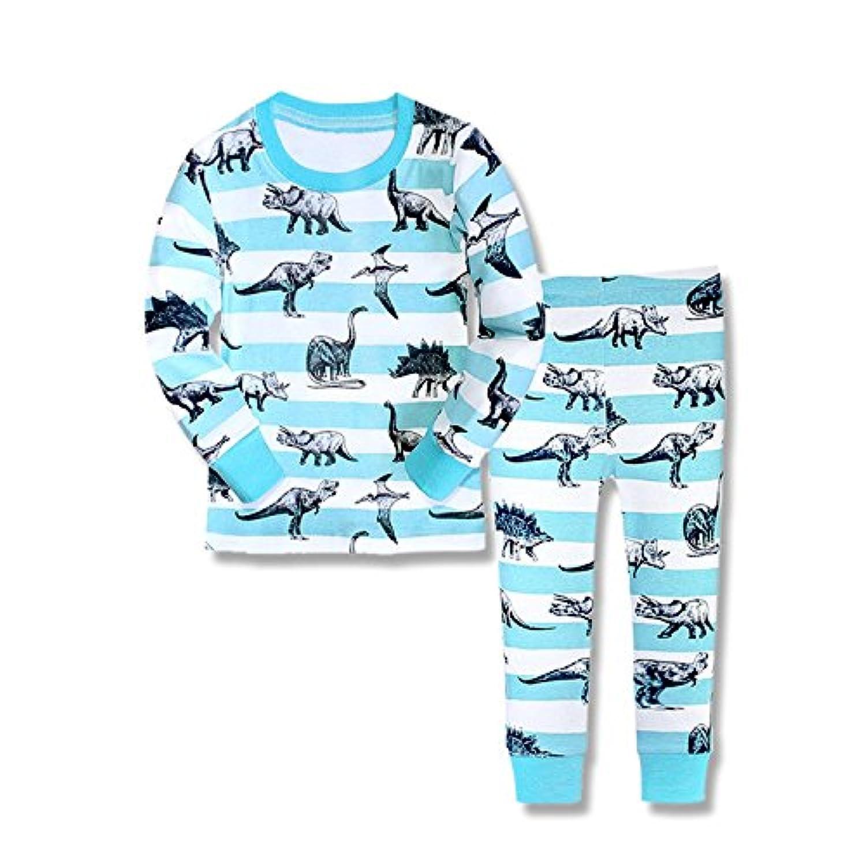 Babyfashion 綿100% 子供パジャマ ルームウェア キッズ  女の子 男の子 上下セット 恐竜柄  長袖  寝巻き ボーイズ ガール 女児 男児 ベビー  2-9歳