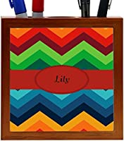 Rikki Knight Lily Name on Fall Colors Chunky Chevron Design 5-Inch Tile Wooden Tile Pen Holder (RK-PH45380) [並行輸入品]