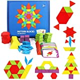 Hamkaw 180PCS Wooden Pattern Blocks Set, Classic Geometric Shape Puzzles Graphical Educational Montessori Tangram Toys with Storage Bag 24 Design Card, Brain Teasers STEM Kids Ages 4-8