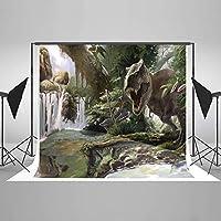 写真撮影用背景幕 ジュラシック 5x7フィート ティラノサウルス レックス 恐竜 写真背景 子供用 シームレスフォトスタジオ 背景 しわが少ない