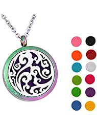 Lucky Clouds Aromatherapy Essential Oil Diffuser Necklace 316 Stainless Steel Locket Pendant 60cm Chain 12 Refill...