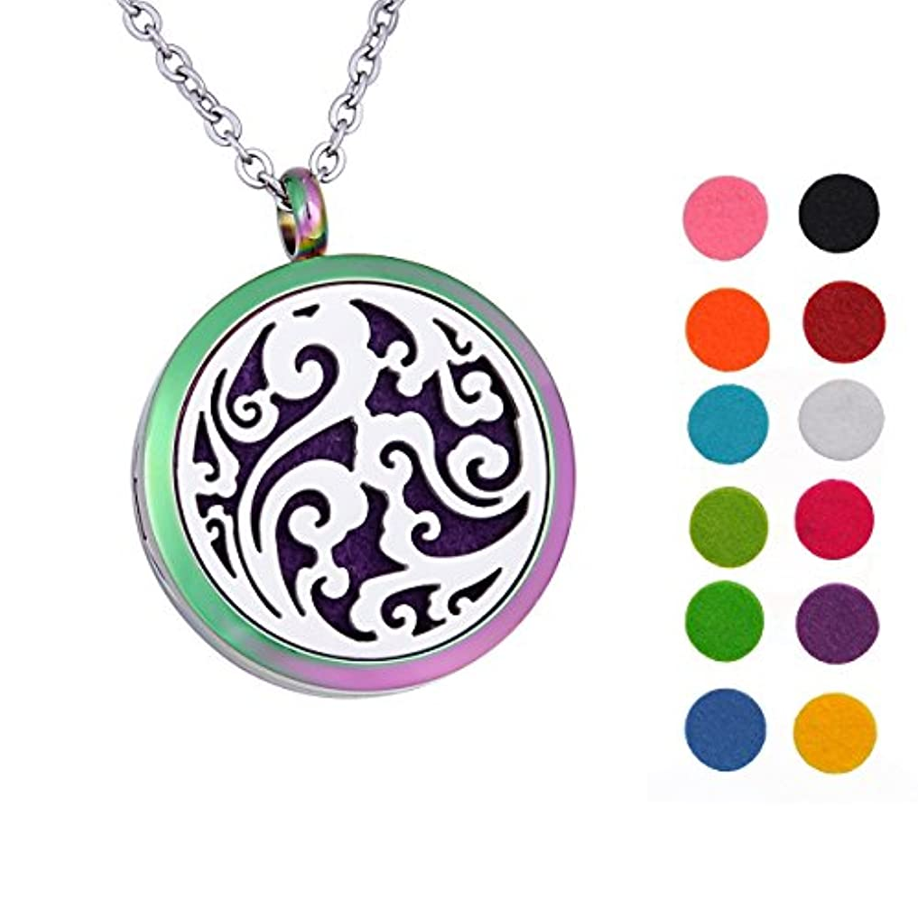 環境保護主義者自動興奮するLucky Clouds Aromatherapy Essential Oil Diffuser Necklace 316 Stainless Steel Locket Pendant 60cm Chain 12 Refill...