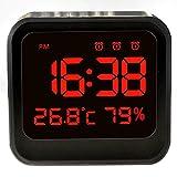 SODIAL LED目覚まし時計、USB電源付きのベッドサイドクロック 自動明るさ調整、温度/湿度アラームクロック、華氏/摂氏機能付き(ブラック