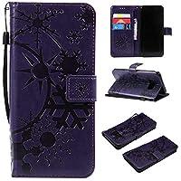 Galaxy S8 Plus ケース CUSKING 手帳型 ケース ストラップ付き かわいい 財布 カバー カードポケット付き Samsung ギャラクシー S8 Plus マジックアレイ ケース - パープル