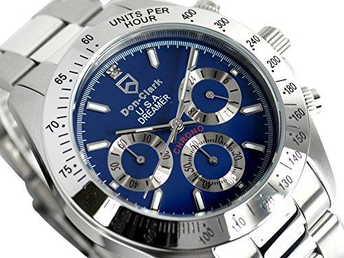 ダンクラーク DON CLARK クロノグラフ メンズ腕時計 ダイヤモンド入り DM2051-04 ブルーダイヤル