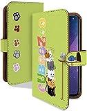 iPhone6s Plus ケース 手帳型 猫 ネズミ グリーン ねこ柄 キャット スマホケース アイフォン アイフォン6sプラス 手帳 カバー IPHONE 6S+ 6Splusケース 6Splusカバー 猫 ねこ 魚 動物 イラスト [猫 ネズミ グリーン/t0373d]