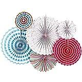 amleso ペーパーファン カラフル 紙製 扇子 部屋装飾 壁掛け飾りつけ 結婚式 記念日 全3色 - A
