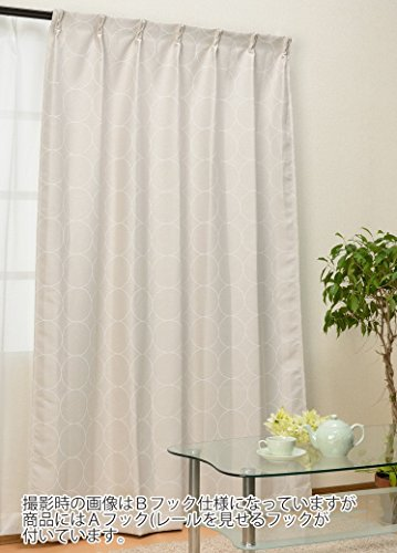 カーテンチアフル オーダーカーテン サークルモダン アイボリー(遮光2級):幅290cm×丈201cm 2枚組