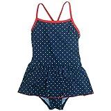 水着 子供 キッズ 女の子 ワンピース 水着 ドット柄 スカート付き 子供水着 ネイビー 130cm