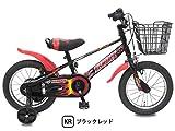 【片足スタンド付】 ビスマーク 18インチ ブラックレッド 補助輪付き かご付き 組み立て式 幼児用自転車 ステップアップセット