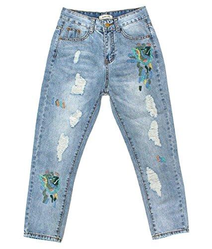 CHILLE リーフ刺繍デニムパンツ ブルー S