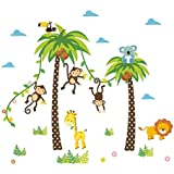 ElecMotive Cartoon Forest Animal Monkey Crow Koala Coconut Palm Tree Nursery Wall Stickers Wall Murals DIY Posters Vinyl Removable Art Wall Decals for Kids Girls Room Decorations