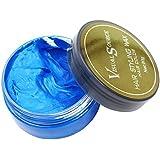 VISUAL SOURCE [ビジュアルソース] ヘアワックス ストレート ヘア用 シルバー?アッシュ シャンプーで色付き 整髪料 80g (ブルー)