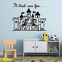 Hnzyf フランスのプリンセスS城リムーバブルビニール壁飾りステッカー用赤ちゃん女の子ルームプリンセス装飾壁画デカールアートインテリア壁紙82×70cm