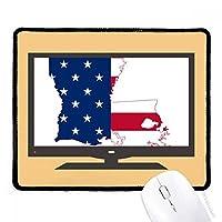 アメリカのルイジアナ州の地図の星条旗 マウスパッド・ノンスリップゴムパッドのゲーム事務所