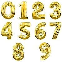 Zebratown 16インチゴールド番号0 – 9ホイルバルーンデジタル誕生日、休日WeddinパーティーSupply
