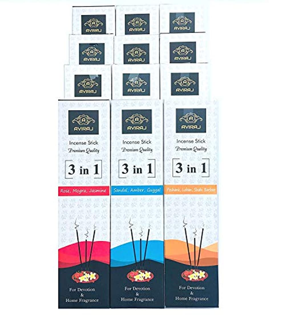 著名なピースうつAviraj Premium Incense Agarbatti Sticks collection on 9 Fragrances- 3 in 1 (Pack of 12) 56 Sticks each