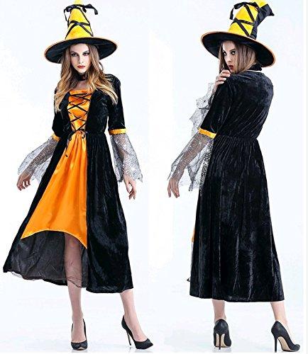 オーフォックス(Oxfox)ハロウィン衣装 ハロウィーン仮装 巫女 魔女 ハロウィン用品 コスプレ衣装 大人用 レディース ロングドレス 公演服 3点セット オレンジ