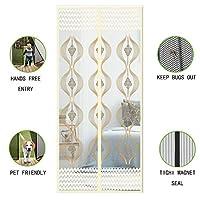 メッシュを暗号化 玄関網戸 マグネット式 夏 ハンズフリーします。 網戸カーテン と 完全なフレーム フック ループ の パティオドア 維持 バグ 昆虫 アウト-クリーム色 B 120x220cm