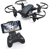 YouCute X01HW 720p HD WiFiカメラ搭載のFPVドローンライブビデオミニRC折り畳み可能なクアドコプター(標高保留ヘッドレスモード)初心者のための飛行が容易子供と大人(720Pカメラ付き黒)