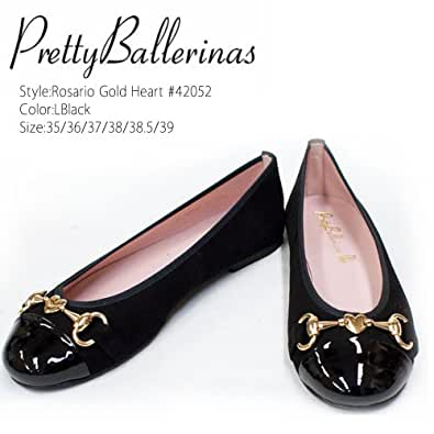 Pretty Ballerinas/プリティバレリーナ  Rosario Gold Heart #42052 ハート型チャーム パンプス (38.5(約24.5cm), BLACK)