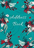 Address Book: B5 Medium Contact Notebook Organizer with A-Z Alphabetical Tabs | Large Print | Flower on Spiral Design Teal
