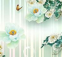 Wkxzz 現代のファッション壁画壁紙3D牡丹蝶花写真壁画リビングルームテレビソファ壁装飾-350X250Cm