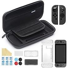 iAmer Nintendo Switch アクセサリー 11 in 1 , Nintendo Switch ケース+シリコンJoy-Conカバー +3枚 フィルム+グリップ キャップ+透明ケース+画面クリーナー +カードケース(10プラス8カードスペース付き)