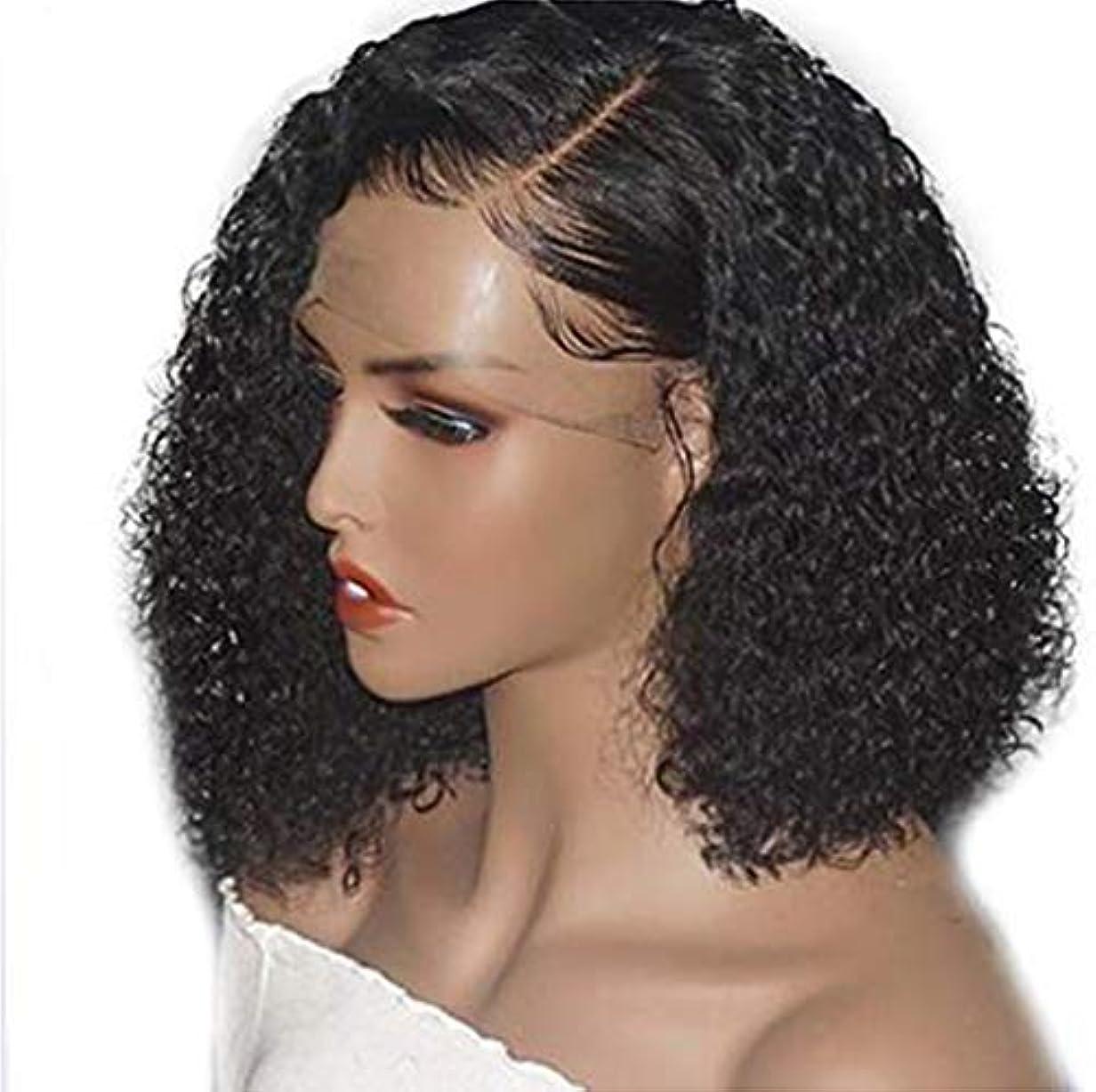 窓ピン自動車女性のブラジルのRemy耐熱合成長さの非常に巻き毛のウェーブのかかった髪のパーティーコスチュームウィッグ黒14インチ