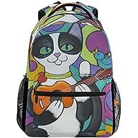 tropicallife Funny Cat Play the Ukuleleバックパック学校ブックバッグショルダーバックパックハイキング旅行用デイパックカジュアルバッグ