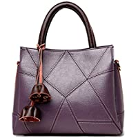 Shoulder Bag Fashion PU Leather Handbag for Women Lady Top Handle Tote Bag Satchel Shoulder Bag Multicolor Handbag Clutch (Color : Purple, Size : Medium)