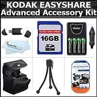 16GBアクセサリーキットfor Kodak EasyShare Max z990、z5010、z5120デジタルカメラは16GB高速SDメモリカード+ USB 2.0カードリーダー+ 4AA高容量充電式ニッケル水素電池とAC / DC急速充電器+ケース+ LCDスクリーンプロテクター+ More