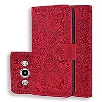 Mobile Phone Protector 財布&ホルダー&ギャラクシーJ5のためのカードスロット(2016)/ J510(ブラック)ZHUHXとカーフ柄ダブル折りたたみデザインエンボスレザーケース (Color : Red)