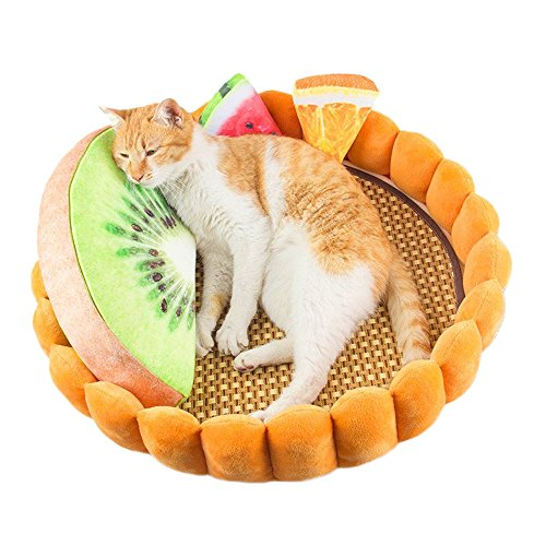 Speedy Pet 猫 犬用品 ペット用 ベッド 夏用 ござ付き クール 冷感 エッグタルト型 丸型 かわいい おしゃれ ホワイト L