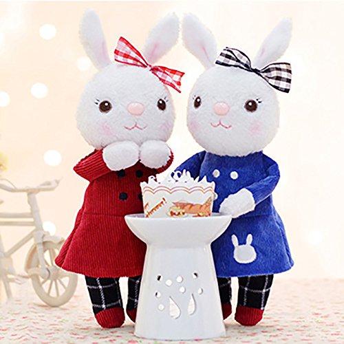 人気の Metoo (ミートゥー) かわいい 冬の ぬいぐるみの キーホルダー 二つセット コートを着た Tiramitu(ティラミス) バニー ウサギ おもちゃ ストラップ ペア セット カップル 9インチ (ドレス)