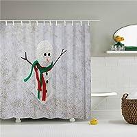 ブルーホワイトクリスマス日Snowman Decor印刷シャワーカーテンサイズ69x 84