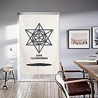 ショートカーテン,カーテン,カーテン,半分カーテン,仕切りのカーテン,穿孔 印刷 ベッド キッチン 北欧-A 75*120cm