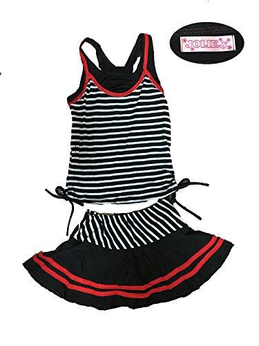 (ジョリーイグレック) JOLIE.y 水着 子供 キッズ かわいい スイミング ウェア ボーダー スカート ストライプ セパレート 旅行 キュート ガール 女の子 女児 A02 (130cm, 黒)