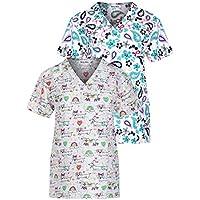 Minty Mint Women's Medical Scrub Printed V-Neck Top Multi Pack