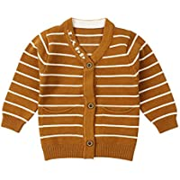 WeddingPach Newborn Boys Sweater Infant Baby Striped Outfit Knitted Cardigans 0-9M