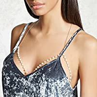 Lovoski Women Lady Fashion Faux Pearl Bead Bra Body Chain Bikini Beach Body Jewelry