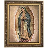 """Elysian Gift Shop Our Lady of Guadalupe 8"""" x 10"""" Catholic Framed Art Print-Wall Plaque- in Ornate Gold Finish Frame. Lamina e"""