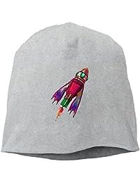 【Dera Princess】メンズ レディース ニット帽 Retro Red Spaceshipロゴ コットン ニットキャップ 帽子 オールシーズン 被れる