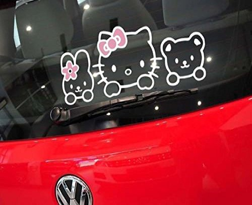 ハロー キティ Kitty and her Friends デカール カー ステッカー (並行輸入品) (White/Pink)
