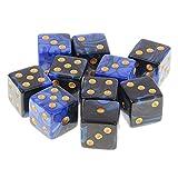 dailymall ダンジョンD&D TRPGボードゲームアクセサリーを演奏する10ピースDIY 6面ダイスD6 – ブルーブラック