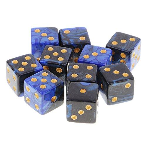 Fenteer 10個 プラスチック D6ダイス サイコロ テーブルゲーム ボードゲーム MTG RPGゲーム用 全2色 - ブルーブラック