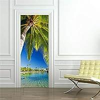 swsongxの建物の景色3dのドアのステッカーはドアのためのポリ塩化ビニールの自己接着壁紙を防水しますDiyの木製の寝室の改装のステッカー77 * 200cm 90x200cm DM033