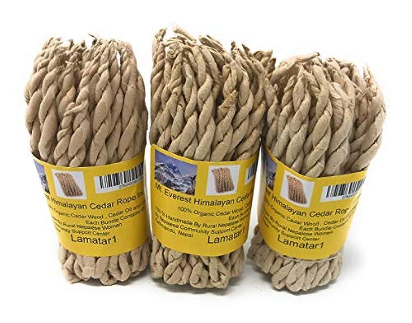 帝国主義言い聞かせるトラブルMT。Everest Himalyan Cedar Rope Incenseロールの3 x 45ロープ= 135ロープfounded by Buddhist Monk Dr。Umesh Lama 1981年に
