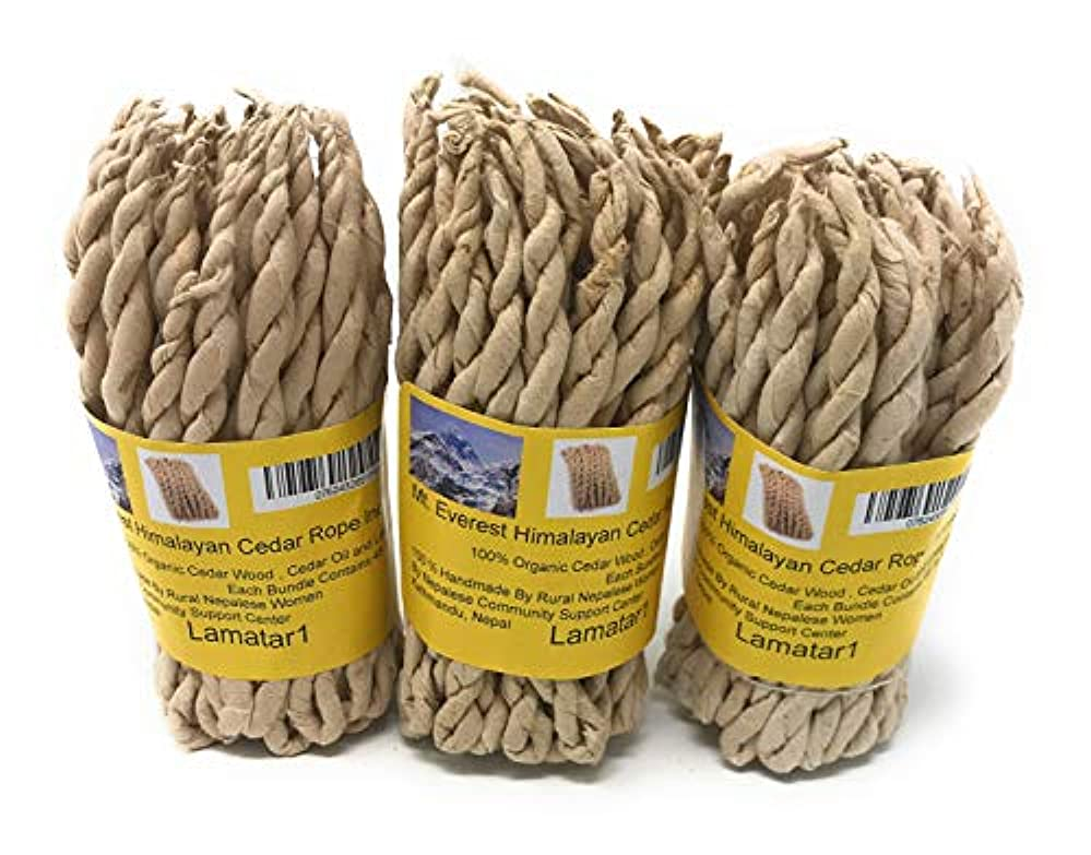分析的な受粉するアメリカMT。Everest Himalyan Cedar Rope Incenseロールの3 x 45ロープ= 135ロープfounded by Buddhist Monk Dr。Umesh Lama 1981年に